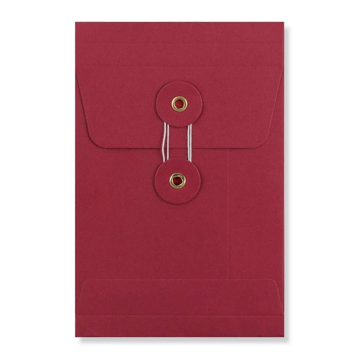 C6 RED GUSSET STRING & WASHER ENVELOPES 180GSM