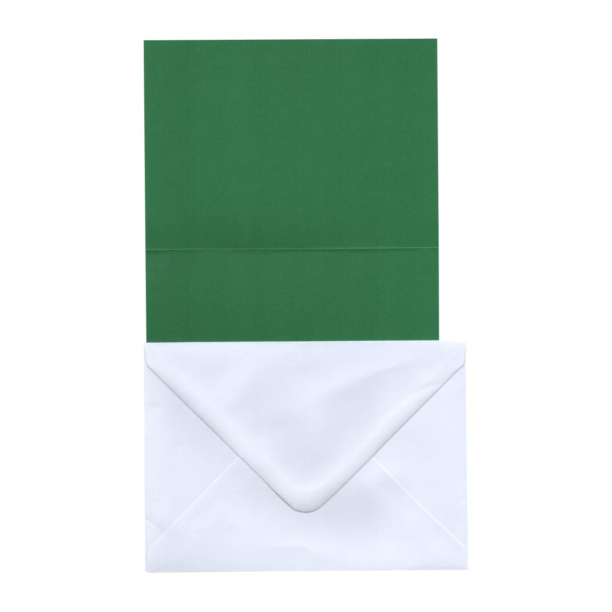 A6 DARK GREEN CARD BLANKS & WHITE ENVELOPES (PACK OF 20)