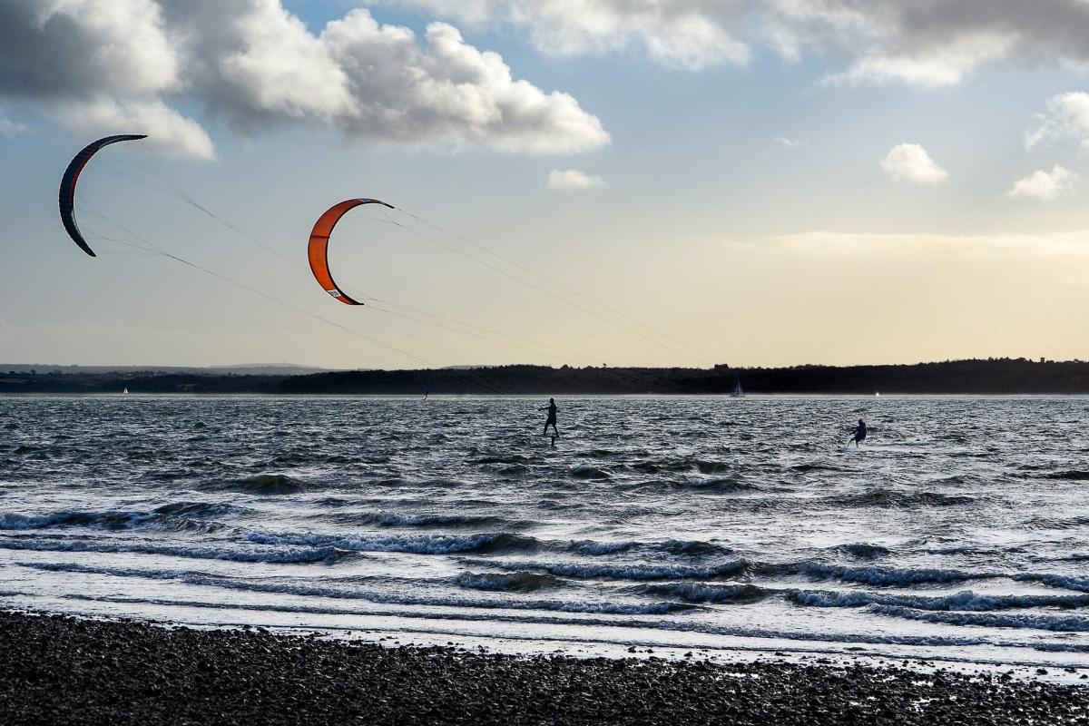 kitesurfing on the coast