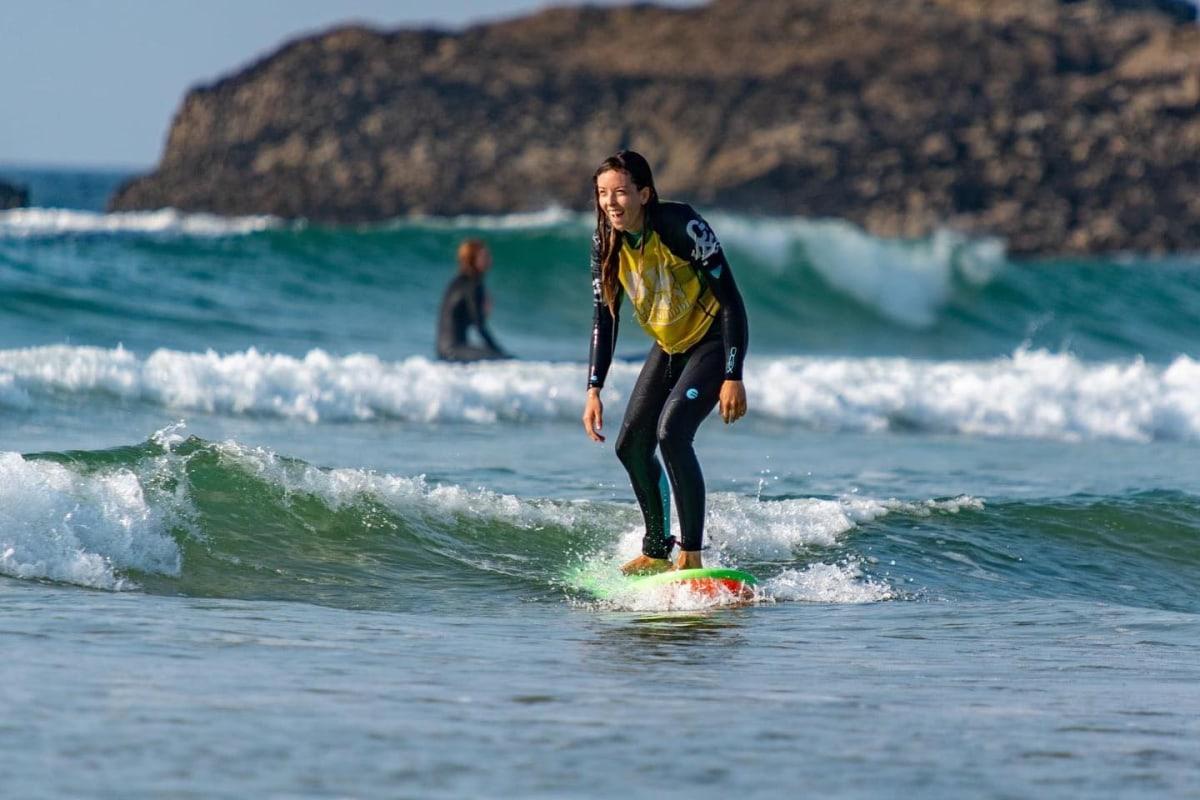 Surfing with Big Green Surf school