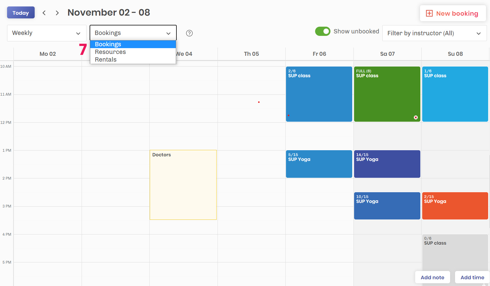 Calendar view booking system