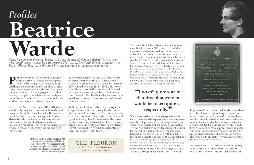Article image. Profiles: Beatrice Warde.]