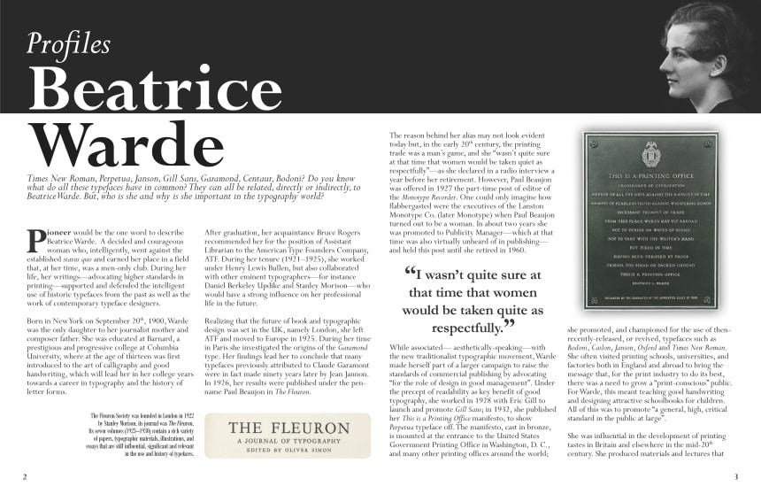Article image. Profiles: Beatrice Warde.]