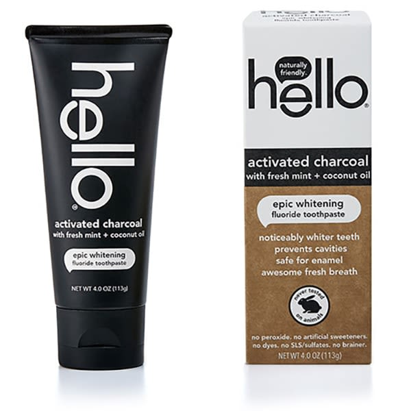 Hello Activated Charcoal Whitening Toothpaste Fluoride Free