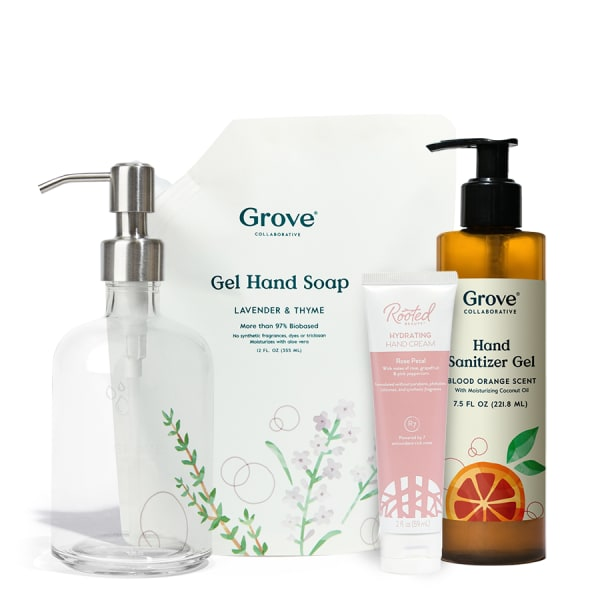 Buy One Hand Soap Refill + Dispenser and Hydrating Hand Cream, Get One Large Hand Sanitizer Free  $23.85