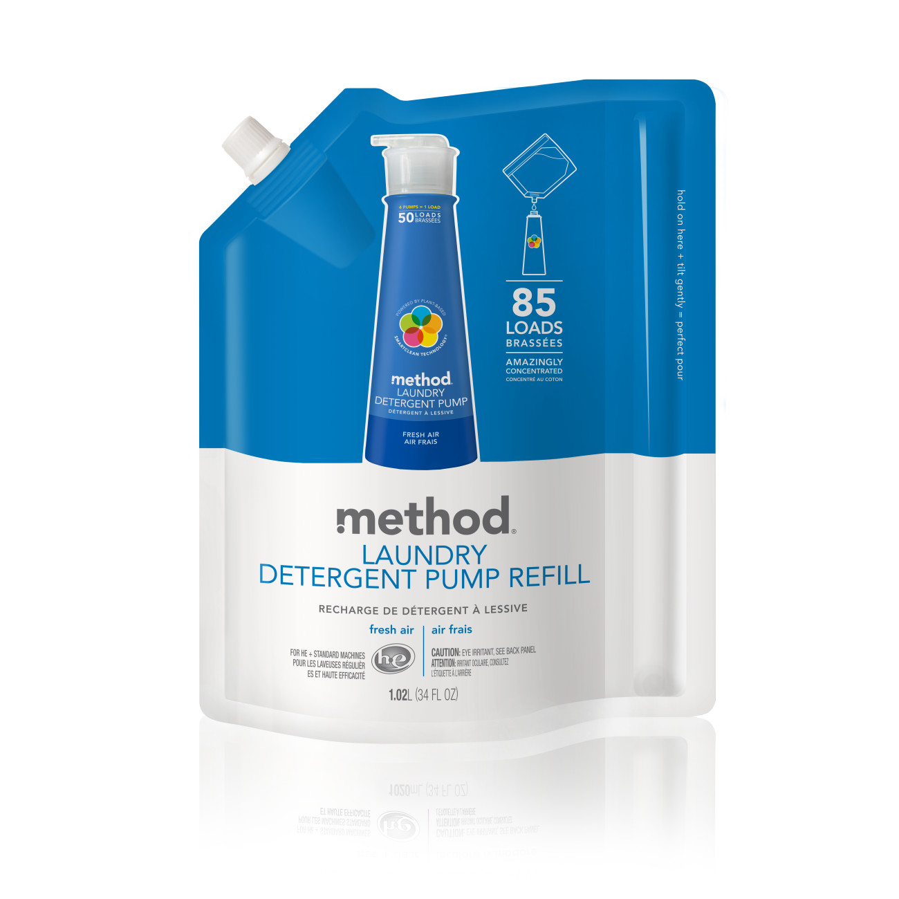 Method Laundry Detergent Refill Bag with 85 loads worth of soap.