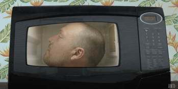 "Darrin Bradbury Sticks His Head in a Microwave in Video for Album Title Track ""Artvertisement"""
