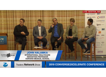 Healthcare Alliances panel with John Halamka, David Weeks, Carl Camden, Mary Butler Everson, and Meyrick Vaz at 2019 Conv2x Conference | Traders Network Show – Equities News