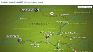 UI der Landkarte zu den Ertappen der Tour de France