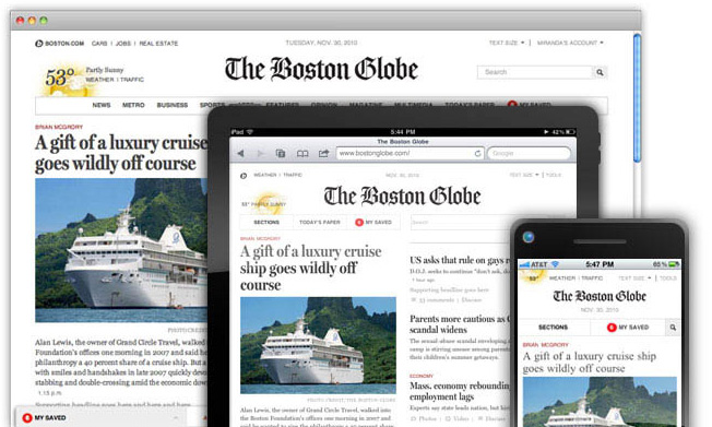 Boston Globe responsive website