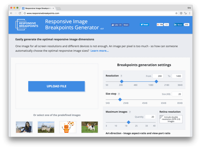 Responsive Images Breakpoints Generator