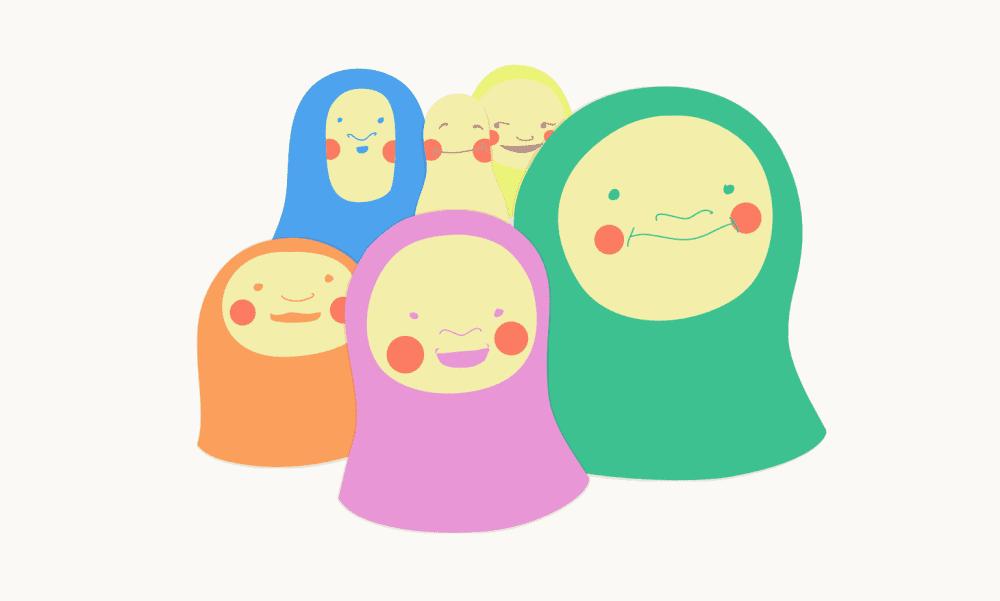 A cluster of matroyshka heads