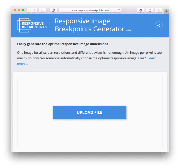 A screenshot of the Responsive Images Generator