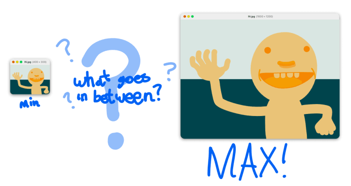 min, max, question marks around the in-between