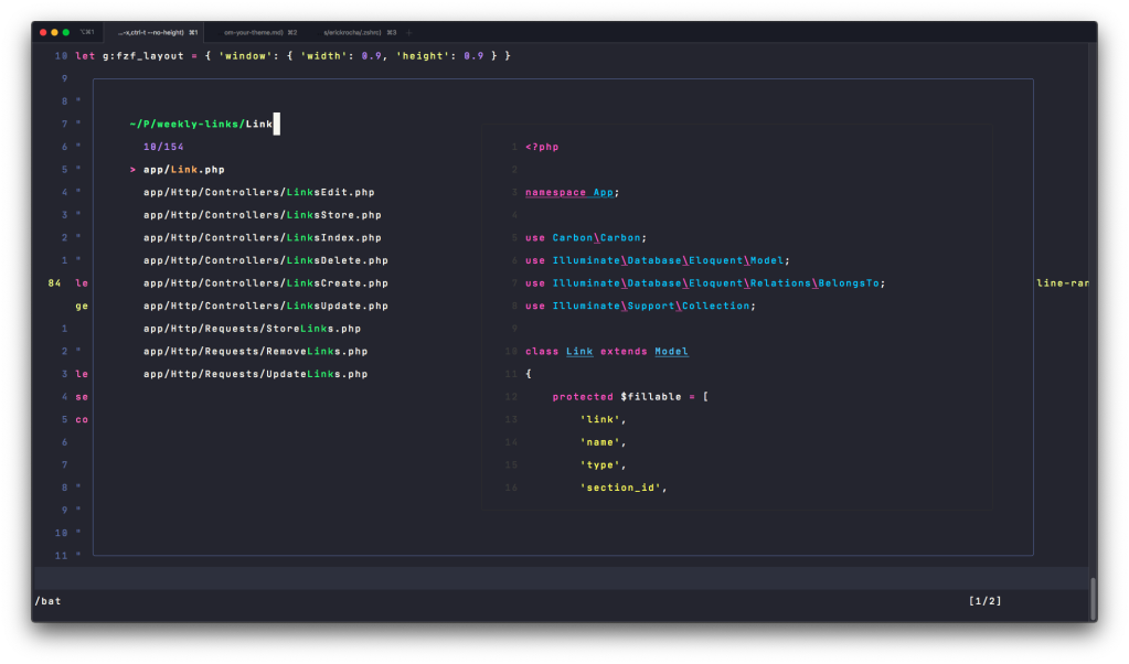 FZF.vim preview pane using the theme colors we use