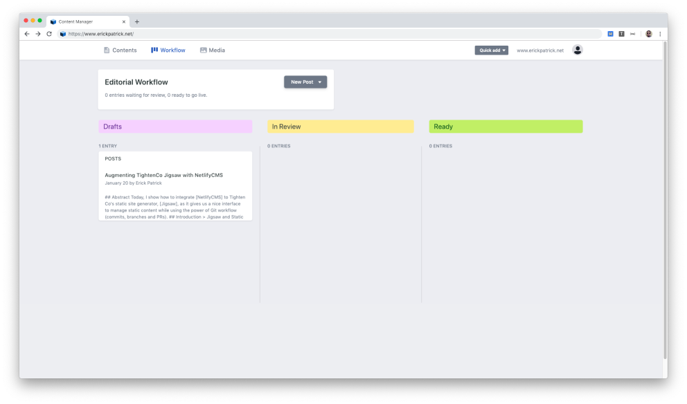 NetlifyCMS Content Workflow Page