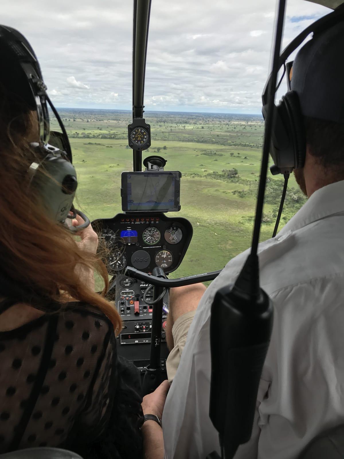 helicopter Botswana Okavango Delta Safari