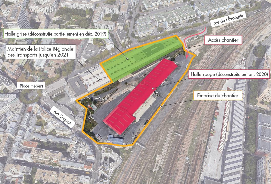 Plan des travaux de déconstruction à Hébert