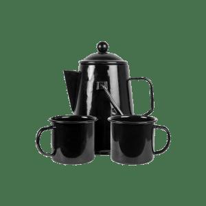 Emaloitu kahvipannu/mukisetti