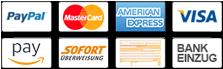Bezahlen mit Kreditkarte, Paypal, Amazon Pay, Sofort, Rechnung, Überweisung