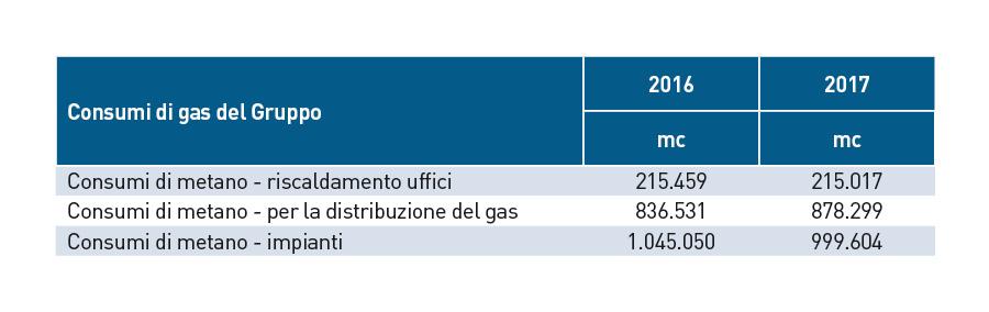 Consumi gas gruppo