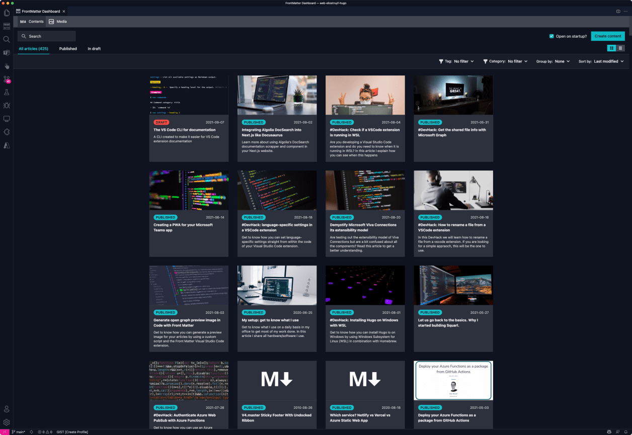 Front Matter CMS editor dashboard of your static site content