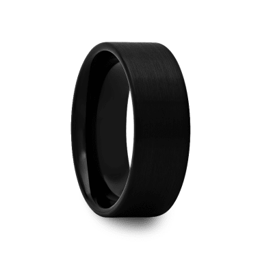 Pipe Cut Black Tungsten Ring with Brushed Finish