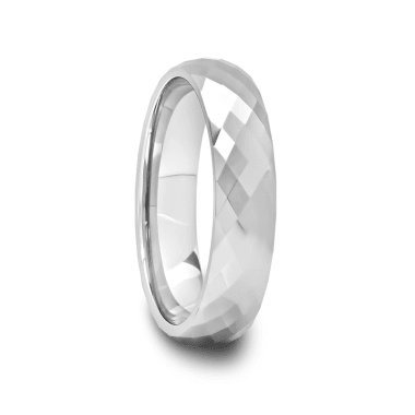 Multi Diamond Faceted Tungsten Carbide Ring 4 mm