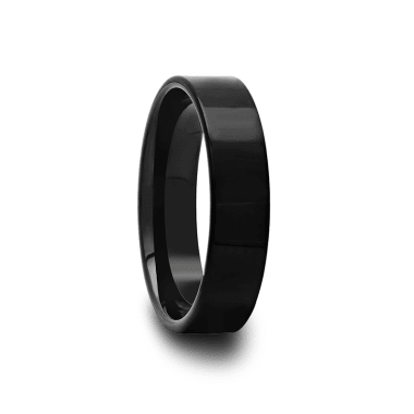 Black Flat Tungsten Carbide Wedding Band 4mm