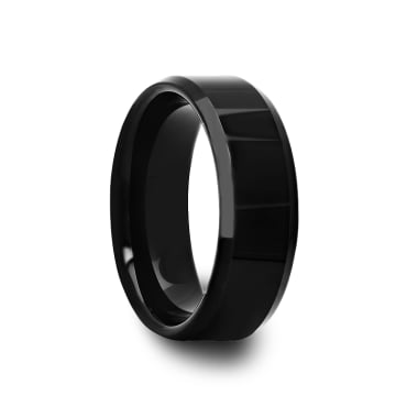Mens Beveled Edge Polished Black Tungsten Carbide Ring