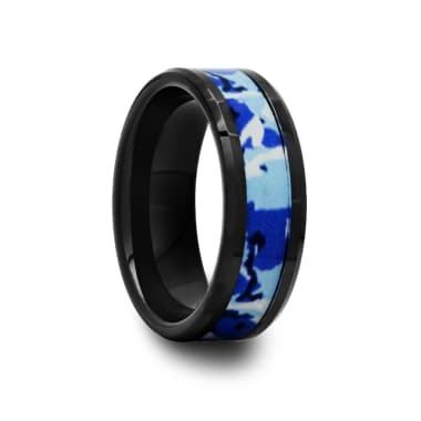 Black Ceramic Ring with Blue and White Camouflage Inlay