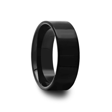 Polished Pipe Cut Black Tungsten Carbide Ring