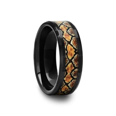 Black Ceramic Ring with Boa Snake Inlay