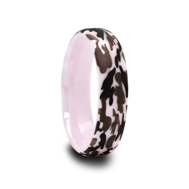 Pink Ceramic Ring with Laser Engraved Camouflage