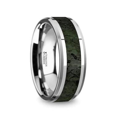 Rectangular Faceted Mens Tungsten Wedding Band Beveled Edges 8mm