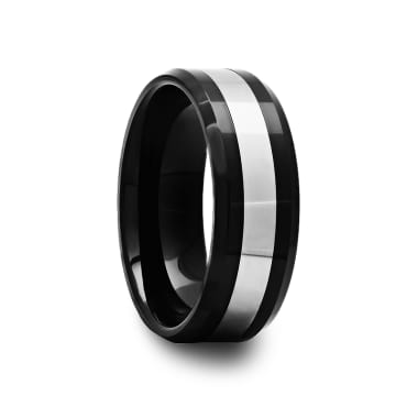 Black Ceramic Ring with Tungsten Inlay and Beveled Edges