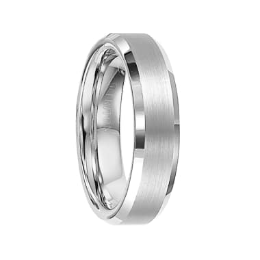 Triton Ring 6mm Bevel Edge Tungsten Carbide comfort fit Band with center satin finish and bright polished edge