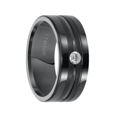 Satin Center Polished Vertical Cuts and Single Diamond Setting Triton Ring Slightly Domed Cobalt Ring with Polished Edges