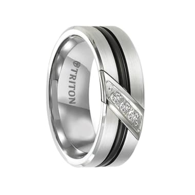 Triton Ring 8mm Black and White Tungsten Carbide Men's Band with Diamond Detail