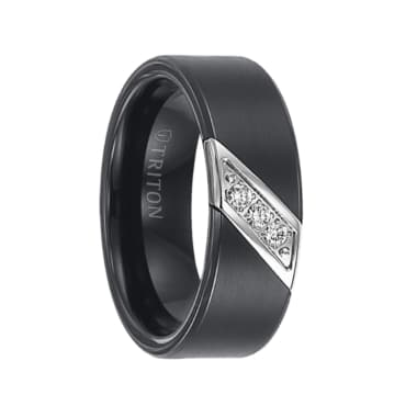 Triton Ring 8mm Black tungsten carbide satin finish band with diagonal diamonds set in stainless steel