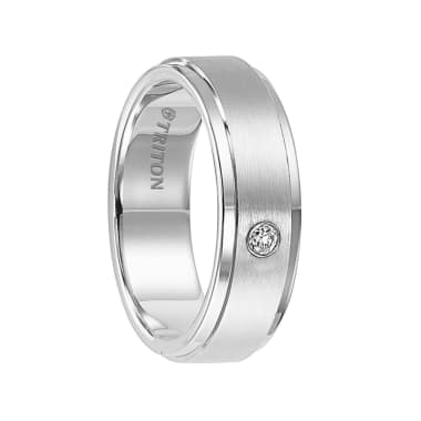 Triton Ring 7mm White Tungsten carbide Step Edge satin finish comfort fit band with 18k White Gold Bezel set diamonds