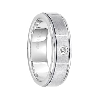 Triton Ring 6.5mm Tungsten carbide flat with rims diamond comfort fit band with satin finish center and bright cuts