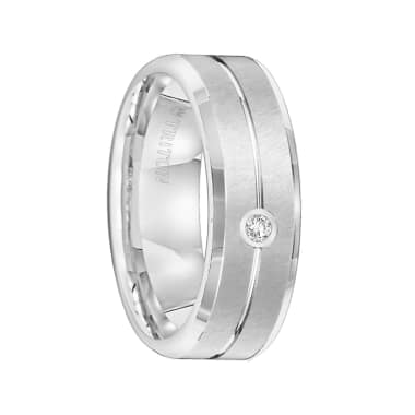 Triton Ring 7mm Tungsten carbide Bevel Edge comfort fit diamond band with satin finish center and bright center groove