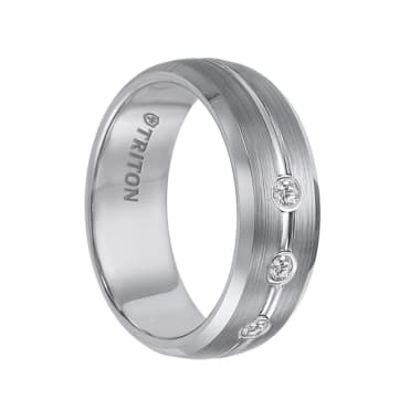 Triton Ring 8mm Brush Finished Tungsten Carbide Ring with Polished Bevels, Bright Center Groove, and Three Diamond Settings