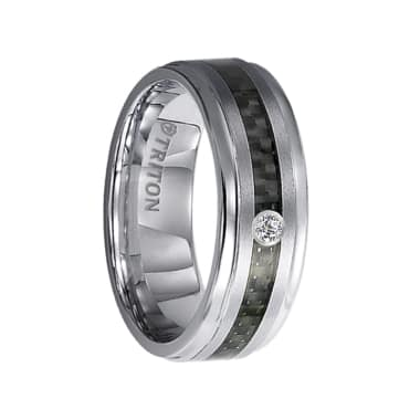Triton Ring 7mm Tungsten carbide Bevel Edge comfort fit diamond band with black carbon fiber inlay