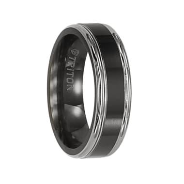 Triton Ring 6.5mm Flat Comfort Fit Black Titanium Band with Step edge