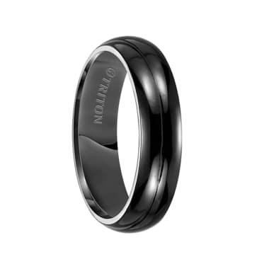Triton Ring 6mm Domed Black Titanium Comfort Fit Band