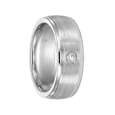 Triton Ring 8mm Cobalt step edge Brush Finish diamond band