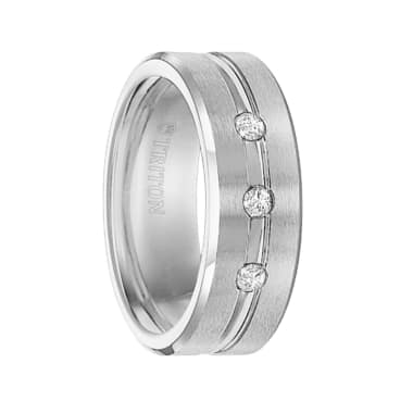 Triton Ring 8mm Cobalt Bevel Edge Brush Finish comfort fit Triple Diamond band with bright center horizontal cut