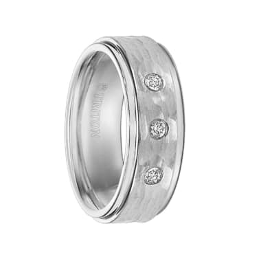 Triton Ring 8mm Cobalt Step Edge Hammer Texture comfort fit Diamond Band
